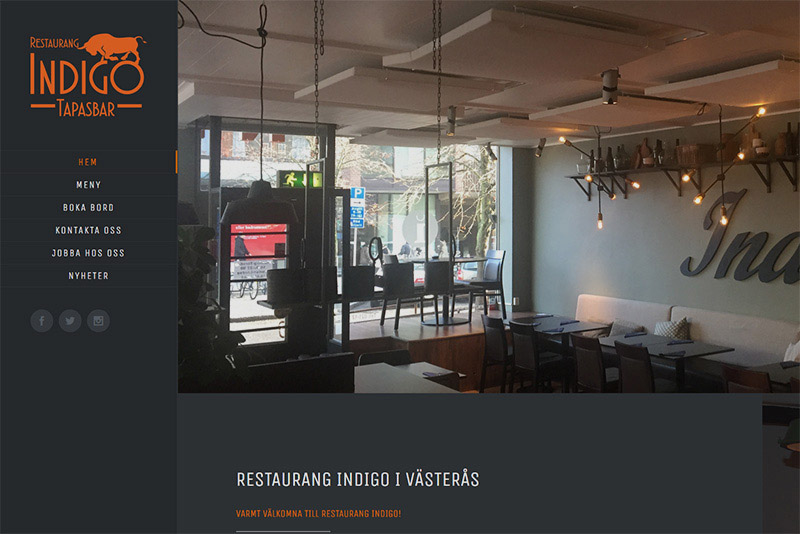 Webbyrå Eskilstuna Webbproduktion Restaurang Indigo