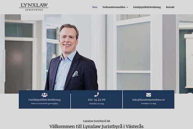 Webbyrå Västerås Webbproduktion Hemsida Lynxlaw Juristbyrå